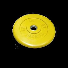 Диск обрезиненный желтого цвета, 15 кг 50 MB-PltC50-15